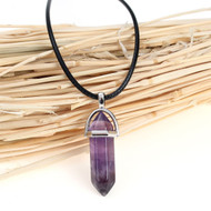 "resell for 15.00 or more (Grade B) Natural Amethyst Yoga Healing Gemstone Necklace Black PU Cord Purple Pendant 45.3cm(17 7/8"") long Style #AGN073118"