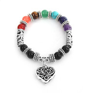 """resell for 27.00 or more Stone Yoga Healing Bracelets Antique Silver Multicolor Heart Round 17cm(6 6/8"""") long Style #HCB073118"""