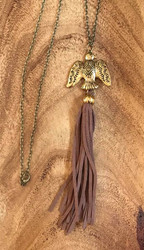 "Resell for 21.00 or more 30"" antiqued brass chain Antiqued brass eagle w brown seeded tassel Boho southwest pendant 7"" long Style #BETN080218"