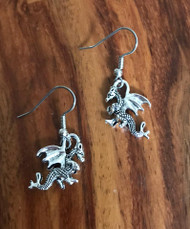 Resell for 6.00 or more Pewter dragons Surgical steel ear wires Style #SD081618