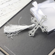 "resell for 9.00 or more Bookmark Cross Silver Tone White Tassel Hollow 70mm(2 6/8"") x 60mm(2 3/8"" Style #CTB082018"