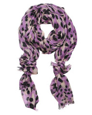"**This purchase will also donate 1 scarf with earrings to a cancer patient**  6 available 12.00  Purple / 100% Modal / Modal Leopard Printed Scarf  •   27"" x 69""   •   100% Modal Style #PBLS082118"