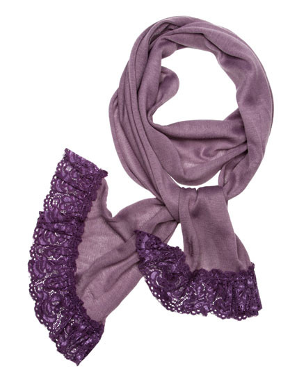 "**This purchase will also donate 1 scarf with earrings to a cancer patient** 3 available 9.00 resell for 27.00 or more 100% Polyester/purple/ Skinny Knit Scarf With Lace Trim That Adds Feminine Touch And Gives An Urban Look In This Fall And Winte  • 12"" x 71"" 	 •   100% Polyester   •   Purple  Style #PKLS082118"