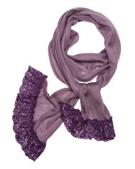 """**This purchase will also donate 1 scarf with earrings to a cancer patient** 3 available 9.00 resell for 27.00 or more 100% Polyester/purple/ Skinny Knit Scarf With Lace Trim That Adds Feminine Touch And Gives An Urban Look In This Fall And Winte  • 12"""" x 71""""  •   100% Polyester   •   Purple  Style #PKLS082118"""