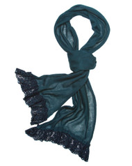"""**This purchase will also donate 1 scarf with earrings to a cancer patient** 3 available 9.00 resell for 27.00 or more 100% Polyester/teal/ Skinny Knit Scarf With Lace Trim That Adds Feminine Touch And Gives An Urban Look In This Fall And Winter.   • 12"""" x 71""""  •   100% Polyester   •   Teal  Style #TKLS082118"""