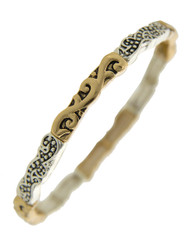 """resell for 27.00 or more Antique Gold & Antique Silver Tone / Lead Compliant / Metal /  Stretch / Filigree / Bracelet  •   SIZE FREE : STRETCH •   DIAMETER : 2 1/2"""" •   WIDTH : 3/16"""" •   SILVER/GOLD  Style #TTSB082218"""