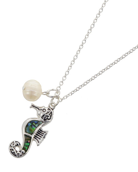 """resell for 36.00 or more Antique Silver Tone / Green Multi Color Abalone W/epoxy / Lead Compliant / Metal / Pearl - Synthetic / Pendant / Filigree / Sea Life / Seahorse / Necklace  •   LENGTH : 18"""" + EXT •   PENDANT : 5/8"""" X 1 3/8"""" •   SILVER/ABALONE  Style #ASHN082218"""
