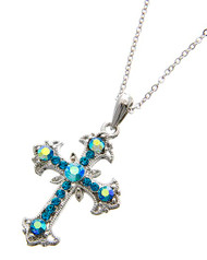 "resell for 24.00 or more Rhodiumized / Aqua Blue Rhinestone / Lead Compliant / Religious / Flower Cross / Delicate / Necklace  •   LENGTH : 18"" + EXT •   PENDANT : 1 1/4"" L	 •   RHODIUM/AQUA  Style #BCCN082218"