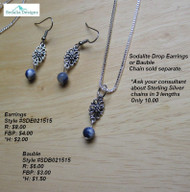 Sodalite drop earrings; bauble and chain sold separately.