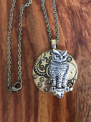 Resell for 18.00 or more Steampunk owl necklace  18 inch antiqued brass chain Style #SPON082418