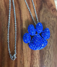 """Resell for 18.00 or more 18"""" silver tone chain  Royal blue enameled pet paw pendant blue crystal 1.5 x 1.25"""" Style #RBPPN082418"""