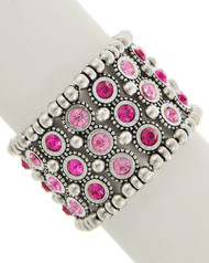 """resell for 36.00 or more Antique Silver Tone / Pink Rhinestone / Lead&nickel Compliant / Metal / Stretch / Bracelet /  •   SIZE FREE : STRETCH •   WIDTH : 1 3/4"""" •   SILVER/PINK  Style #PCSB082818"""