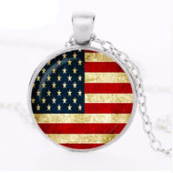 "resell for 15.00 or more 20"" silver tone chain  American Flag pendant Style #AFPN083118"