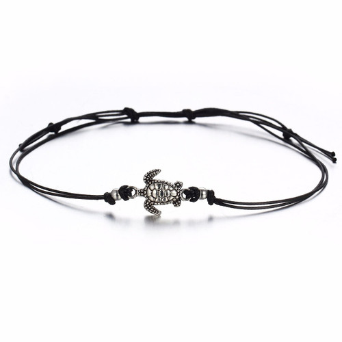 """resell for 9.00 or more Boho Chic Adjustable Anklet Antique Silver Black Sea Turtle Animal 24.5cm(9 5/8"""") long Style #BCTA090418"""