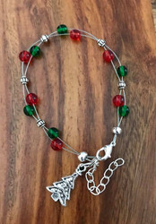"Resell for 15.00 or more 7.5"" plus ext floating bracelet Made by Ashley  Green and red glass / pewter Christmas tree"