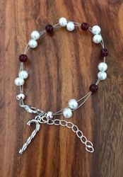 """Resell for 15.00 or more 7.5"""" plus ext chain floating bracelet White pearls red glass / pewter candy cane  Christmas bracelet Made by Ashley Style #CCFB090418"""