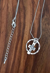 Resell for 12.00 or more 20 inch silver tone chain, plus ext Pewter cross and loop Style #KCHN090518