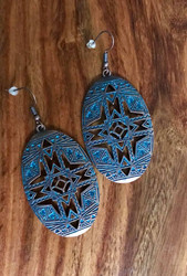 "Resell for 21.00 or more Boho chic tribal earrings patina brass Surgical steel ear wires  3"" x 1 1/4"" Style #BCTPBE090518"