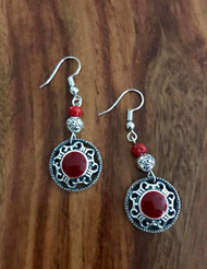 """Resell for 18.00 or more Pewter w red enamel 2"""" drop Surgical steel ear wires Boho chic earrings Style #REBCE090518"""