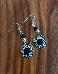 """Resell for 18.00 or more Pewter w black enamel 2"""" drop Surgical steel ear wires Style #BBCE090518"""