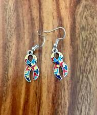 Resell for 12.00 or more Pewter enamel autism awareness puzzle ribbon earrings Surgical steel ear wires Style #AAPE090718
