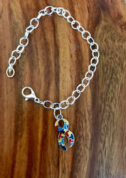 Resell for 15.00 or more Pewter enameled autism awareness puzzle ribbon charm Silver tone plated charm bracelet Fits up to 8 inch Style #AACB090718