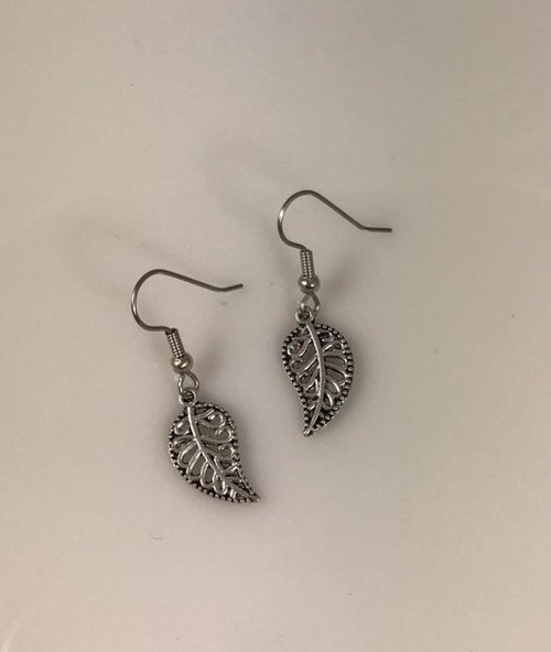 Resell for 6.00 or more Pewter leaf  Surgical steel ear wires Style #SOL090818