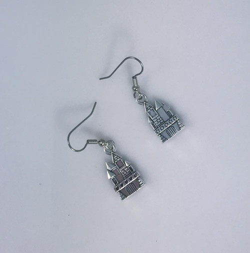 Resell for 6.00 or more Pewter castle Surgical steel ear wires Style #PCE091018
