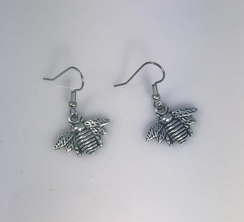 Resell for 6.00 or more Bumblebee pewter Surgical steel ear wires Style #BBE091018