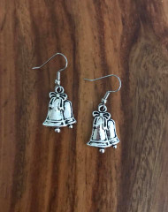 Resell for 6.00 or more Bells  Pewter  Surgical steel ear wires Style #BE091418