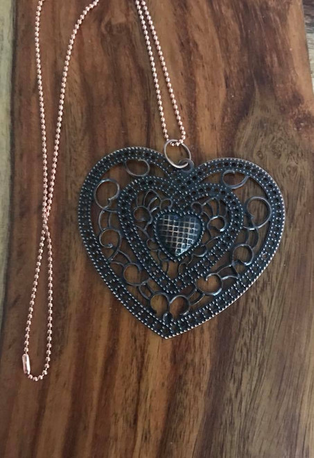 "Resell for 12.00 or more 23"" copper ball chain Heart pendant antiqued filigree 2 1/2 x 2 3/8"" Style #CHN091418"