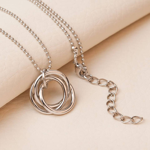 "resell for 9.00 or more Ring Necklace Silver Tone Circle Ring 46cm(18 1/8"") long, plus ext Style #TLBCN091518"