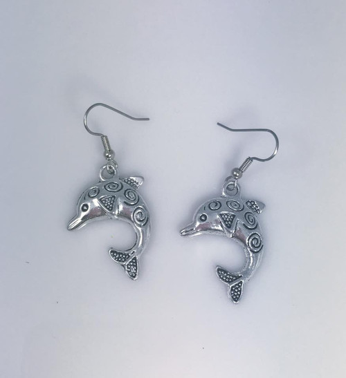 Resell for 6.00 or more Pewter dolphin Surgical steel ear wires Style #CDE091518
