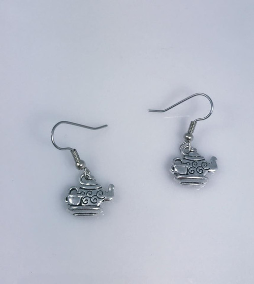 Resell for 6.00 or more Pewter teacup Surgical steel ear wires Style #TPE091518