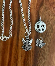 "Resell for 18.00 or more Little girls set  16"" silver tone chain w 3 charms  Pewter angel, seahorse, butterfly Style #LGSABS091718"
