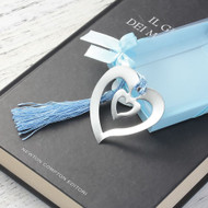 "resell for 9.00 or more Bookmark Heart Blue Tassel Hollow 61mm(2 3/8"") x 55mm(2 1/8"") Steel Stamping Style #HTBM092018"