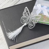 "resell for 9.00 or more Bookmark Butterfly Silver Tone White Tassel Hollow 69mm(2 6/8"") x 55mm(2 1/8"") Style #BTBM092018"