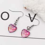 """resell for 9.00 or more Stainless Steel & Resin Mermaid Fish/ Dragon Scale Earrings Silver Tone Fuchsia Heart AB Color 39mm(1 4/8"""") x 13mm( 4/8"""") Style #PMDHE100118"""