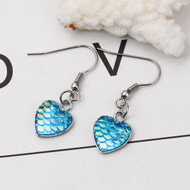 "resell for 9.00 or more Stainless Steel & Resin Mermaid Fish/ Dragon Scale Earrings Silver Tone Green Blue Heart AB Color 39mm(1 4/8"") x 13mm( 4/8"") Style #BMSDE100118"