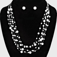 """resell for 36.00 or more • Color : Silver, White • Theme : Pearl  • Necklace Size : 16"""" + 4"""" L • Decor Size : 1 1/2"""" L • Earrings Size : 3/8"""" L Pearl Floating layered necklace Style #MSPFN100218"""