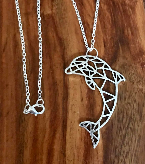 """Resell for 12.00 or more Pewter origami dolphin 2 1/8"""" x 1 3/8"""" 24"""" silver tone chain Style #ODN100218"""