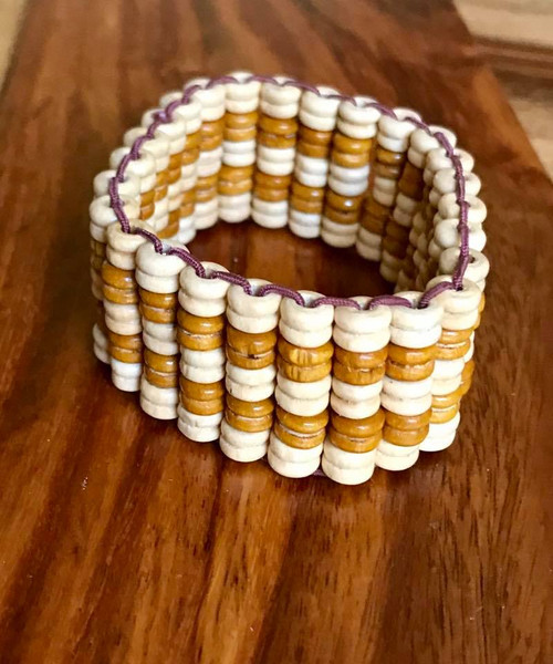 """Resell for 9.00 or more 7 inch stretch bracelet  1"""" wide Two tone wood Style #TTWBSA100518"""