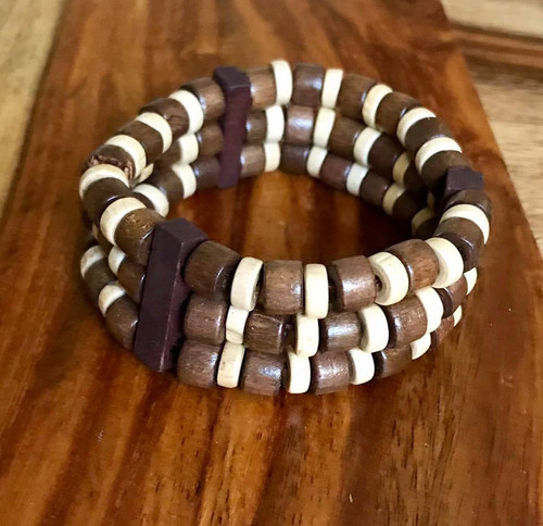 """Resell for 9.00 or more 7 inch stretch bracelet  1"""" wide Three tone wood Style #TTWSBSD100518"""