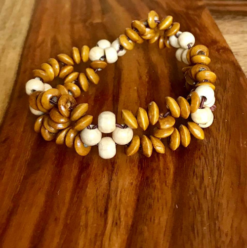 """Resell for 9.00 or more 7 inch stretch bracelet  1"""" wide Two tone wood Style #TTWSBSF100518"""