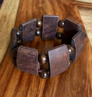 "Resell for 9.00 or more 7 inch stretch bracelet  1 1/2"" wide Two tone wood Style #TTWSBSG100518"