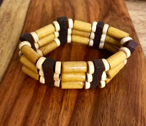 """Resell for 9.00 or more 7 inch stretch bracelet  1"""" wide Three tone wood Style #TTWSBSH100518"""