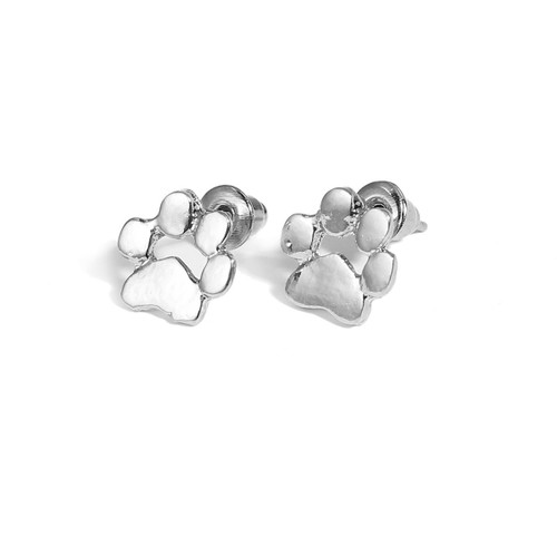 "resell for 9.00 or more Post Stud Earrings Silver Tone Bear's Paw Heart 10mm( 3/8"") x 10mm( 3/8"") Style #STPPPE100518"
