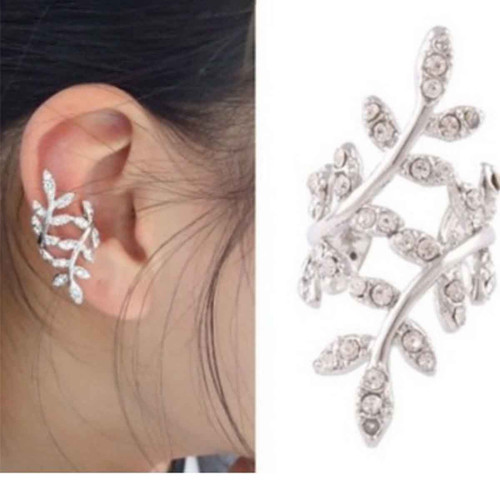 """resell for 12.00 or more Ear Cuffs Clip Wrap Earrings Leaf Silver Plated Clear Rhinestone 33mm(1 2/8"""") x 15mm( 5/8"""") Style #CLEC100518"""