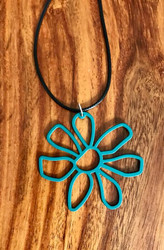 "Resell for 12.00 or more 20 inch black cord w ext chain  Emerald green boho flower pendant 2 1/4 x 2"" Style #EGBFN100518"