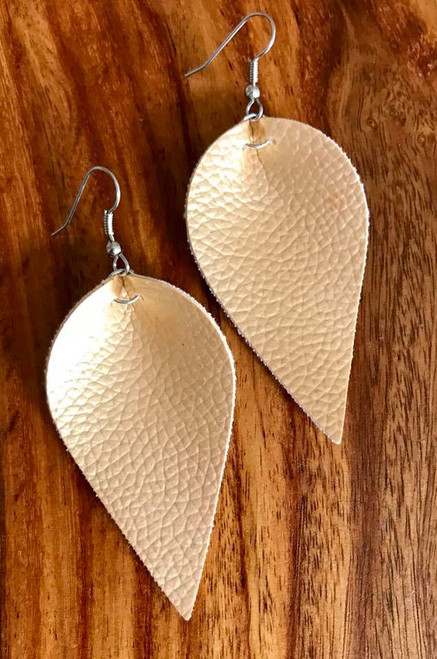 """Resell for 18.00 or more Gold leatherette leaf earrings 2 1/4 x 1 1/4"""" Surgical steel ear wires Style #GLLE100518"""